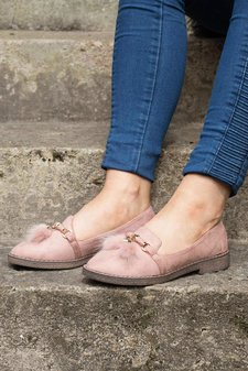 Faux Suede Pom Pom Flat Loafer Shoes Pink