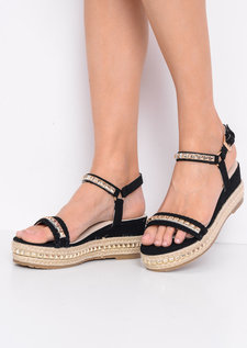 Faux Suede Studded Espadrille Wedge Heel Sandals Black
