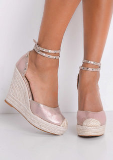 Metallic Studded Strap Espadrille Wedge Sandals Rose Gold