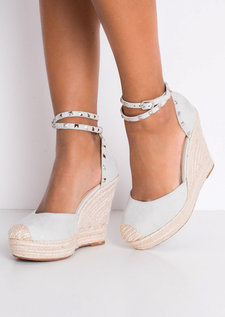Faux Suede Studded Strap Espadrille Wedge Sandals Grey