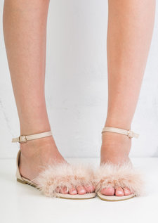 Feather Peep Toe Flat Sandals Beige