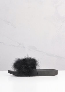 Feather Strap Sliders Black