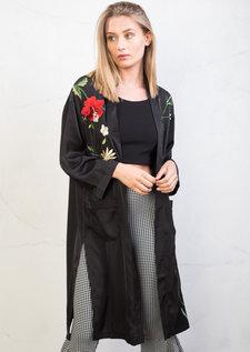 Floral Embroidered Kimono Top Black