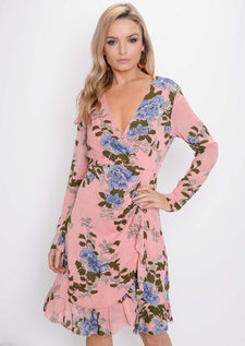 Plunge Floral Ruffle Frill Chiffon Wrap Over Dress Pink