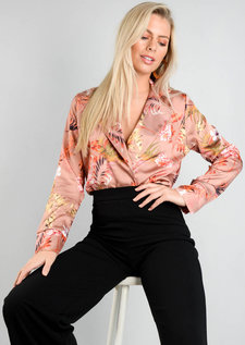 Floral Satin Wrap Bodysuit Beige