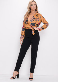 Floral Satin Wrap Jumpsuit Mustard Yellow