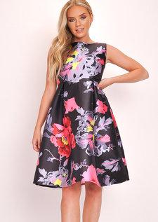 Floral Skater Fit Flare Prom Dress Black