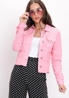 Frayed Hem Denim Jacket Pink