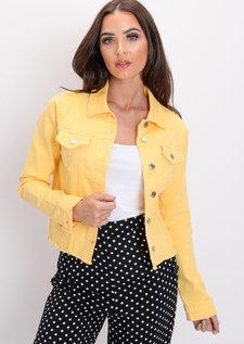 Frayed Hem Denim Jacket Yellow