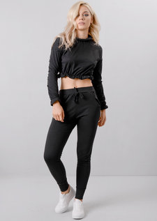 Frill Crop Top Tracksuit Loungewear Set Black