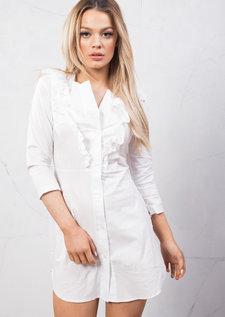 Frill Detail Shirt Dress Tie Sleeve White
