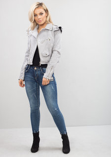 Frill Shoulder Faux Suede Biker Jacket Grey