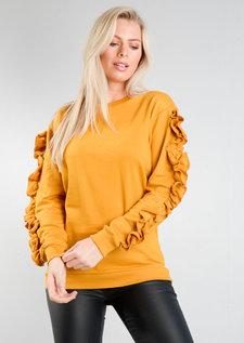 Frill Sleeve Sweatshirt Jumper Mustard Yellow