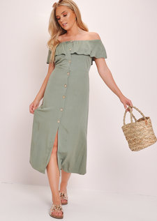 Frilled Bardot Button Through A Line Maxi Dress Green