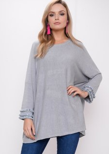 Fringe Pearl Hem Sleeve Knitted Jumper Dress Grey