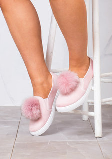 Fur Pom Pom Faux Suede Slip On Sneaker Pumps Pink