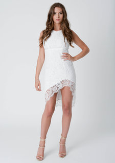 Gema Asymmetric Lace Midi Dress White