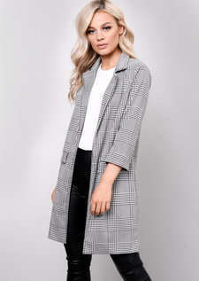 Gingham Tailored Longline Cropped Sleeve Blazer Black