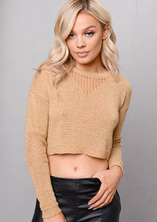 Glitter Cropped Knit Jumper Metallic Gold