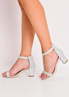 Glitter Diamante T-Bar Block Heels Silver