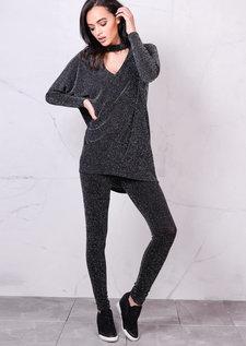 Glittery Co Ord Set ChokerDetail LoungewearBlack