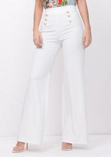 Gold Button Wide Leg Trousers White