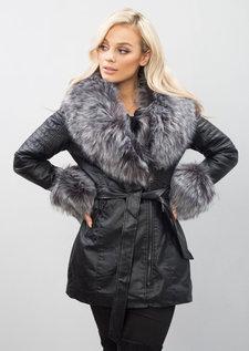 Dark Grey Faux Fur Longline Biker Jacket Coat Black