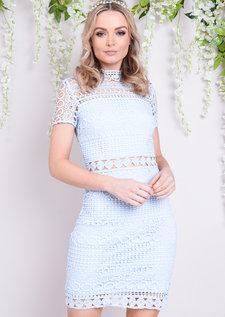 High Neck Crochet Lace Bodycon Dress Blue