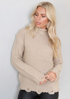 High Neck Distressed Hem Cable Knit Jumper Beige
