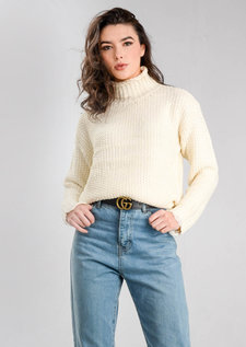 High Neck Distressed Hem Cable Knit Jumper Cream White
