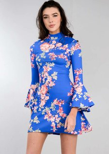 High Neck Frill Sleeve Multi Floral Mini Swing Dress Blue