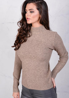 High Neck Ribbed Jumper Beige