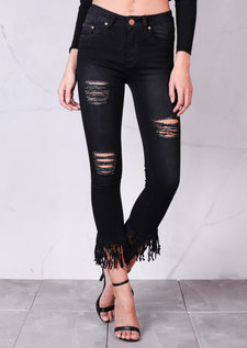 High Rise Ripped Detail Fringe Hem Cropped Skinny Jeans Black