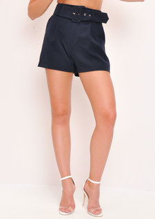 High Waisted Belted Tailored Shorts Navy Blue