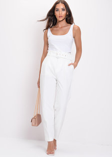 High Waisted Tailored Belted Trousers White