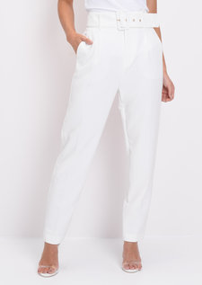 High Waisted Belted Trousers White