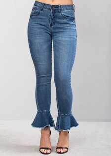 High Waisted Frill Skinny Denim Crop Jeans Blue