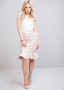 High Waisted Patent Fishtail Midi Skirt Pink