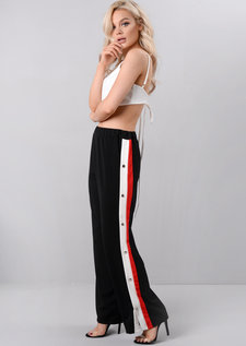 High Waisted Side Popper Panel Wide Leg Trousers Black