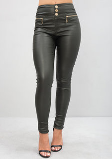 High Waisted Triple Button Jeans Leather Look Trousers Green