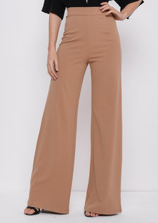 High Waisted Camel Wide LegPalazzo Trousers Beige