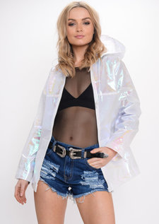 Holographic Rain Mac Festival Jacket Coat White