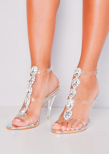 Jewel Embellished Perspex Clear Strap Stiletto Heels Silver