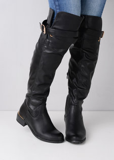 Knee High Strap Around Buckle Boots Black