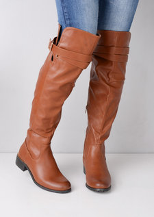Knee High Strap Around Buckle Boots Brown
