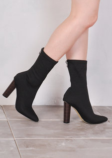 Knit Stretchy Sock Ankle Boots Black