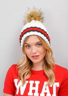 Knitted Pom Pom Green Red Stripe Beanie Hat White
