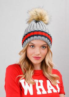 Knitted Pom Pom Green Red Stripe Beanie Hat Grey