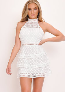 Lace Tiered Frill Mini Dress White
