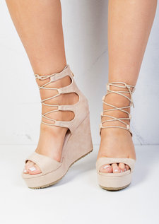 Lace Up Suede Platform Wedge Heeled Sandals Beige